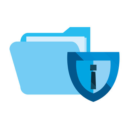 shield folder file cybersecurity data protection vector illustration