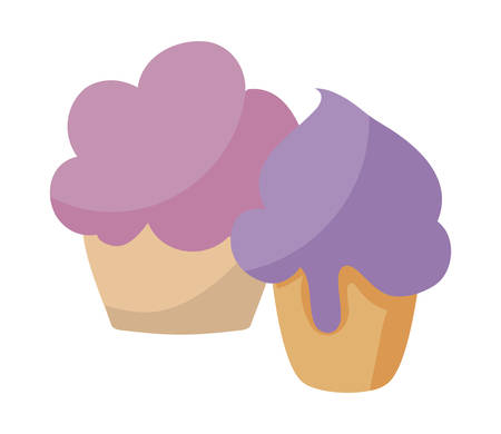 delicious sweet cupcake pastry vector illustration design
