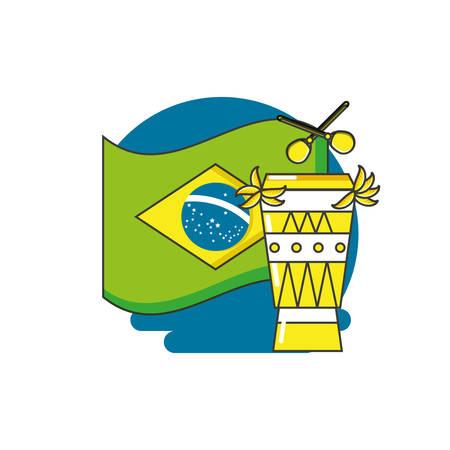 flag of brazil with bongo drum vector illustration design