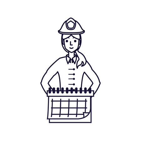 firefighter professional female with calendar reminder vector illustration design