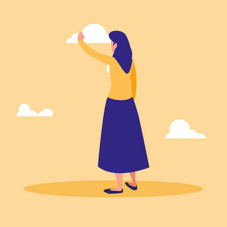 beautiful and young woman character vector illustration design Иллюстрация
