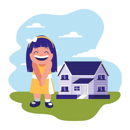 smiling girl standing near house vector illustration