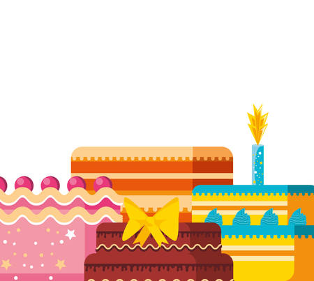 set of sweet cakes of birthday vector illustration design