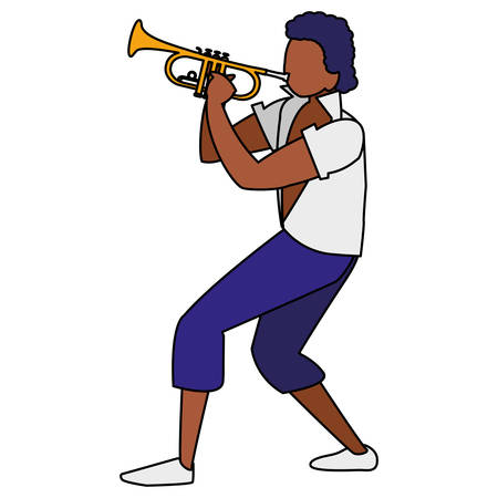 black tropical musician playing trumpet character vector illustration design