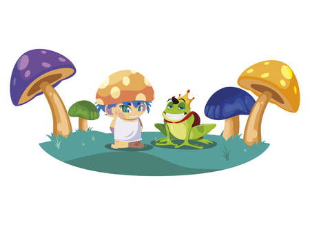 toad prince and fungu elf in fungus garden vector illustration design