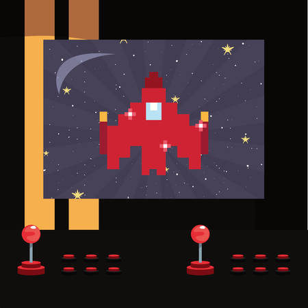 arcade game screen with pixel spaceship vector illustration Ilustracja