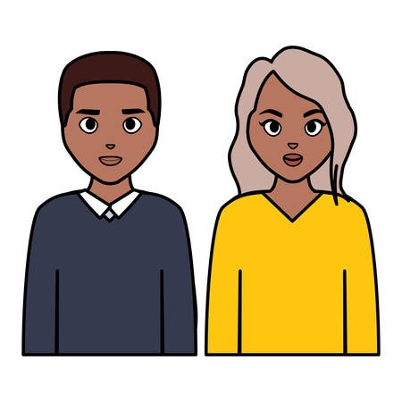 young black couple characters vector illustration design