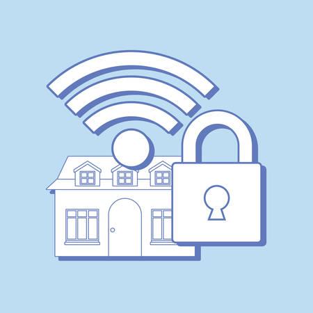 smart home design with padlock and symbol over blue background, colorful design. vector illustration