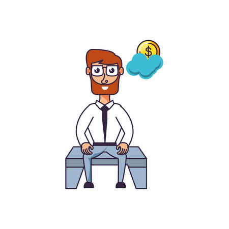 businessman sitting with coin and cloud vector illustration design