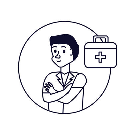 doctor professional with first aid kit vector illustration design Фото со стока - 130512343