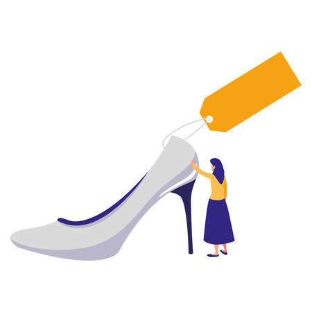 woman with heel shoe and tag commercial vector illustration design 矢量图像