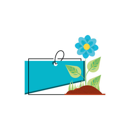natural flower with tag commercial vector illustration design Illustration