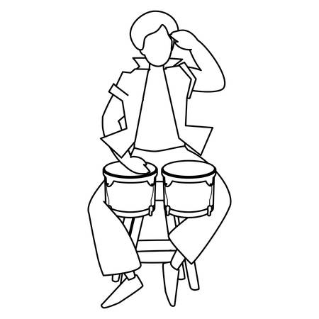 black tropical musician playing timbals character vector illustration design 向量圖像
