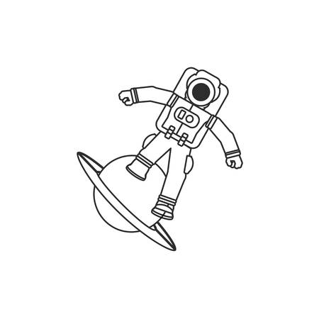 astronaut suit in planet saturn isolated icon vector illustration design
