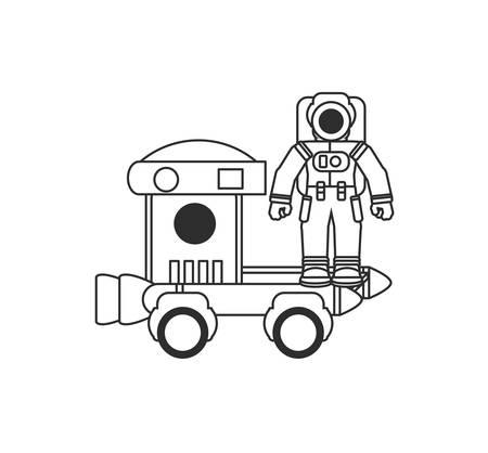 space explorer car with astronaut suit vector illustration design