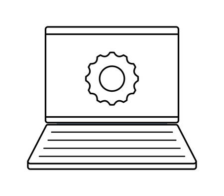 laptop computer with gear isolated icon vector illustration design