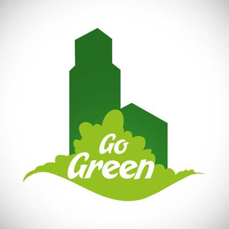 Go green digital design, vector illustration