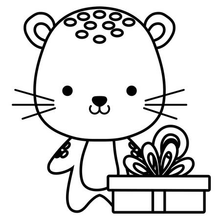 cute and little tiger with gift vector illustration design Çizim
