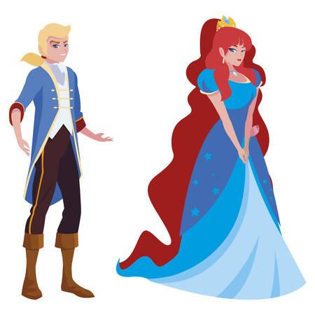 El príncipe azul y la princesa de los cuentos, diseño de ilustraciones vectoriales de personajes