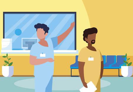Los trabajadores de la medicina masculina interracial en la recepción de la clínica, diseño de ilustraciones vectoriales