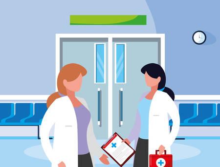 female medicine workers in the operating room entrance vector illustration design Illustration