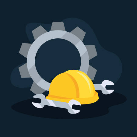 helmet gear wrenches icon vector illustration design Çizim