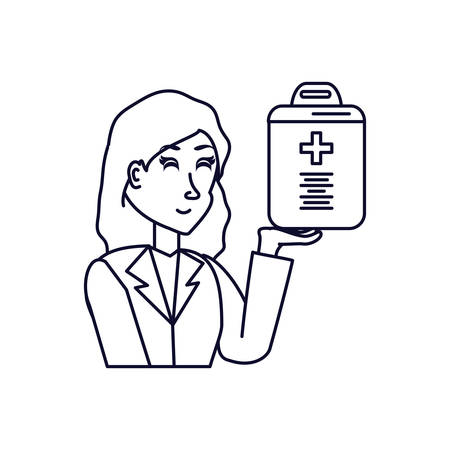 doctor female and clipboard with document of hospital vector illustration design