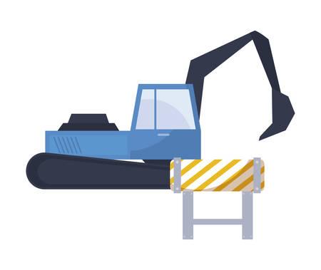 under construction excavator vehicle with signaling vector illustration design Stock Illustratie