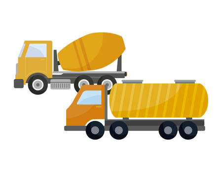 under construction concrete truck with tanker truck vector illustration design