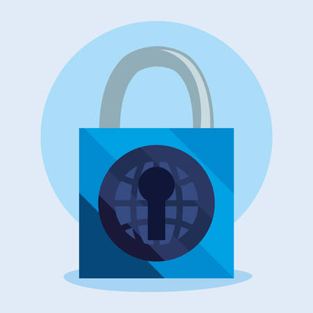padlock world hole key cyber security vector illustration