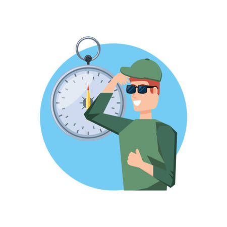man with compass guide isolated icon vector illustration design  イラスト・ベクター素材