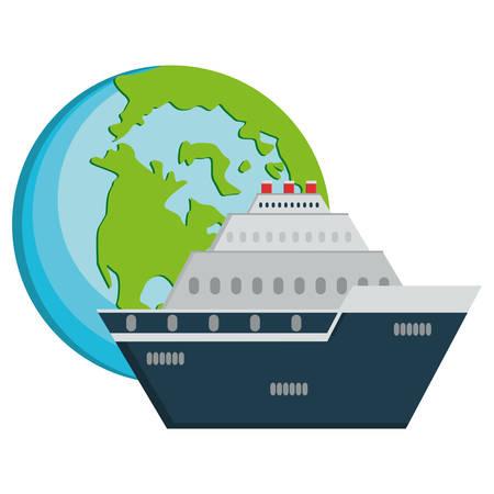 cruise ship travel with world planet vector illustration design  イラスト・ベクター素材