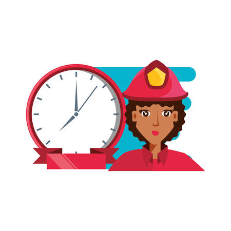 firefighter professional female with clock time vector illustration design