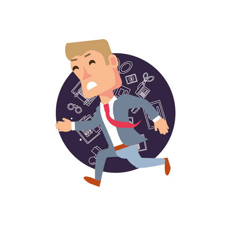businessman running with set icons office vector illustration design