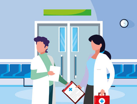 couple medicine workers in the operating room entrance vector illustration design