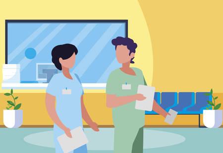 couple medicine workers in hospital reception vector illustration design Çizim