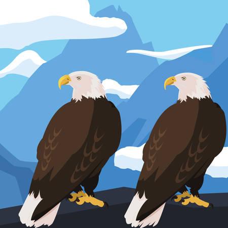 beautiful bald eagles animals in snowscape vector illustration design  イラスト・ベクター素材