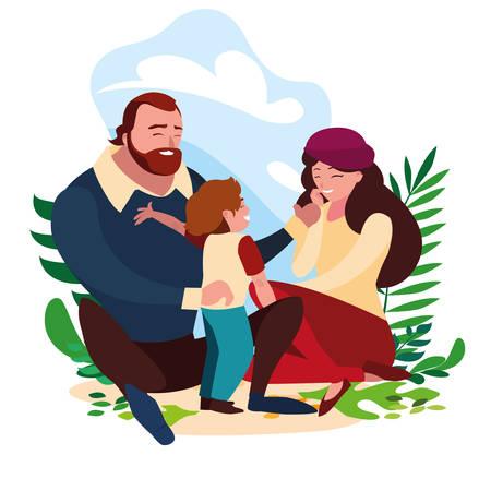 parents with son family in scene natural vector illustration design Standard-Bild - 130569282