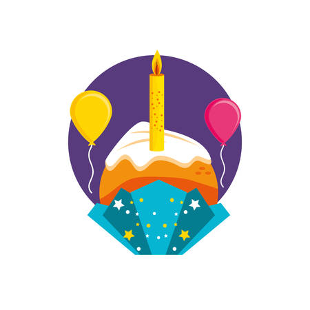 delicious cupcake with candle of birthday and balloons helium vector illustration design