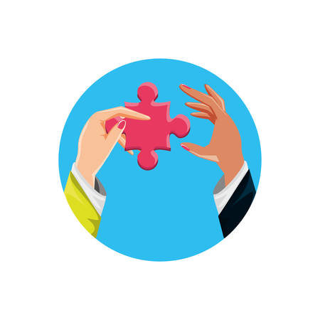 hands with puzzle pieces isolated icon vector illustration design