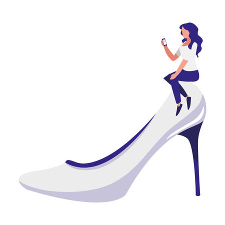 woman using smartphone with heel shoe vector illustration design