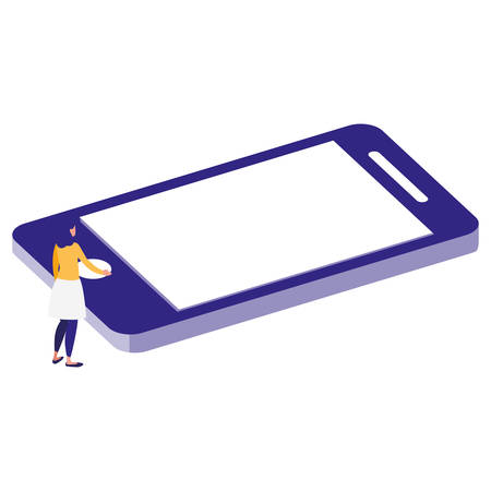 woman using smartphone character vector illustration design