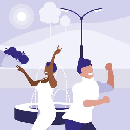 young interracial couple dancing in the park vector illustration design Векторная Иллюстрация