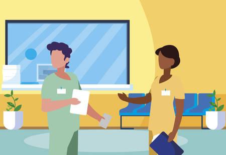 interracial couple medicine workers in clinic reception vector illustration