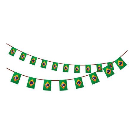 garlands hanging with brazilian flag vector illustration design Illustration