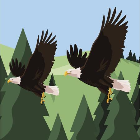 beautiful bald eagles flying in the landscape vector illustration design