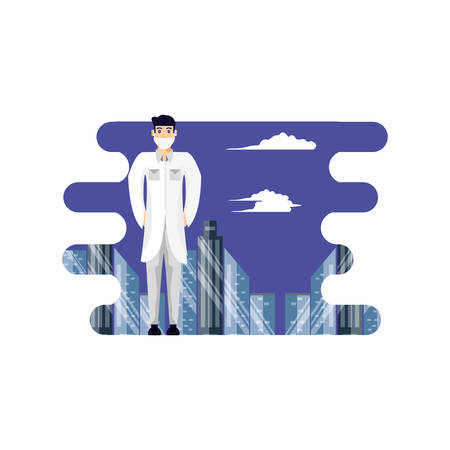 doctor professional with cityscape vector illustration design Stok Fotoğraf - 130534738