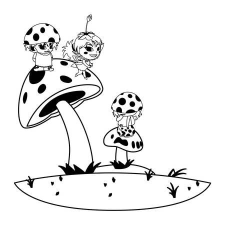 fungus elfs and fairy in the garden vector illustration design