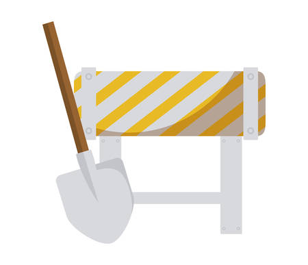 barricade signaling with shovel isolated icon vector illustration design