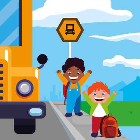 happy little interracial boys in the bus stop vector illustration design